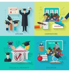 Higher Education Flat Set vector