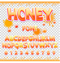 Honey latin font design sweet abc letters and vector