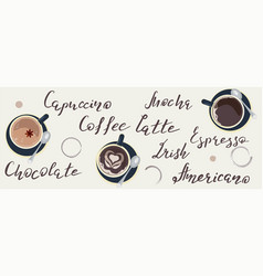 horizontal banner template with coffee lettering vector image
