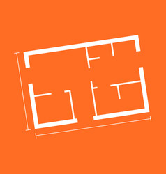 house plan simple flat icon on orange background vector image