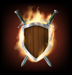Icon coat of arms a wooden shield with swords vector