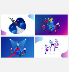 Isometric design for business startup web banner vector