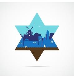 Jerusalem Israel skyline silhouette flat design vector image