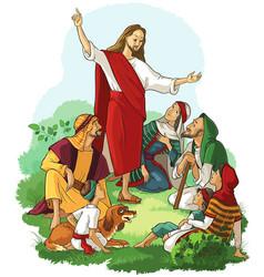 Jesus preaches gospel vector