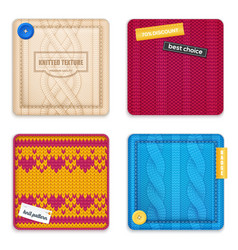 Knitted patterns realistic samples set vector