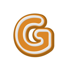 letter g gingerbread peppermint honey-cake font vector image