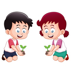 Little kids is planting small plant vector image