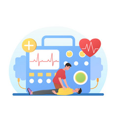 male character is performing defibrillation vector image