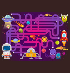 maze games find path for astronaut with space vector image