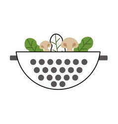 Metal kitchen strainer with vegetables vector