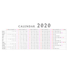 mockup simple calendar layout for 2020 year week vector image