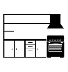 monochrome silhouette of modern kitchen cabinets vector image vector image