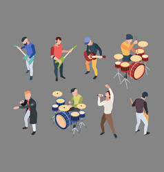 music band isometric characters musicians singers vector image
