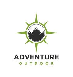 Outdoor adventure logo with mountain elements vector