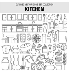 Outline set cooking and food icons vector