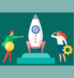 people with ideas and business tools near rocket vector image