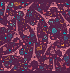 Pink eifel tower paris seamless repeat vector