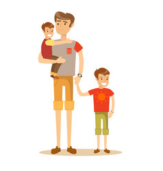 portrait of a father with his two children vector image
