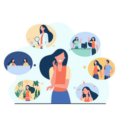 Positive girl and her life memories vector