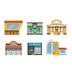 public buildings facades collection city street vector image