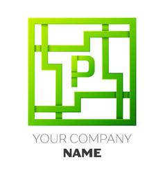 Realistic letter p symbol in colorful square maze vector