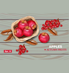 Red apples on wooden background realistic vector