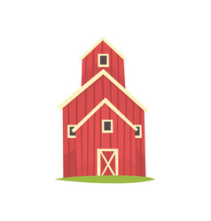 red barn wooden agricultural building cartoon vector image