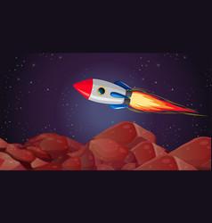 Rocket mars landscape scene vector