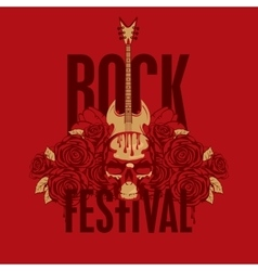Roses and the words Rock festival vector