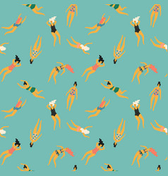 seamless pattern with swimming women vector image
