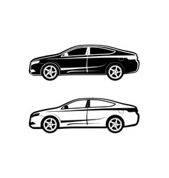 Sedan car icon set from the side view in black and vector