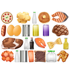 Set different food and drinks vector