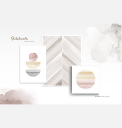 Set minimal art with watercolor hand-painted vector