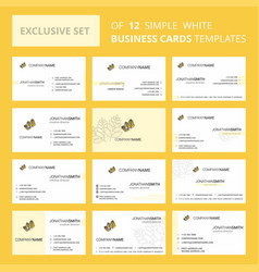 set of 12 wheat creative busienss card template vector image