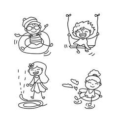 Set of hand drawing cute girls line art vector