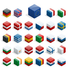 Set of isometric boxes with flags simple vector