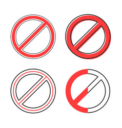 set red prohibition sign vector image
