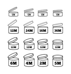 sign of the shelf life of cosmetics and other vector image