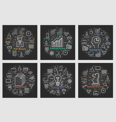 six black business square banners - idea strategy vector image