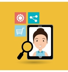 smarthphone and people isolated icon design vector image