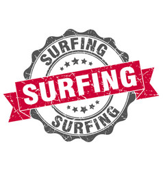 Surfing stamp sign seal vector