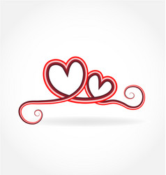 swirly love hearts isolated vector image