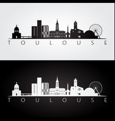 Toulouse skyline and landmarks silhouette vector