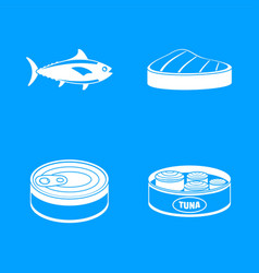 tuna fish can steak icons set simple style vector image