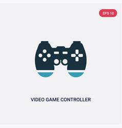 two color video game controller icon from vector image