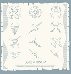 vintage aviation thin line icons collection vector image