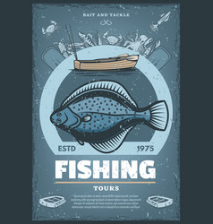Vintage poster for fishing tours vector