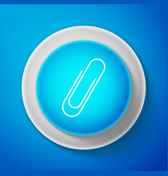 white paper clip icon isolated on blue background vector image