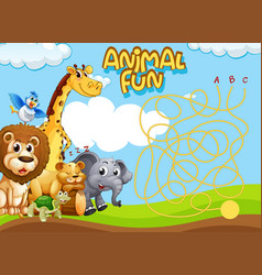 wild animal maze puzzle game template vector image