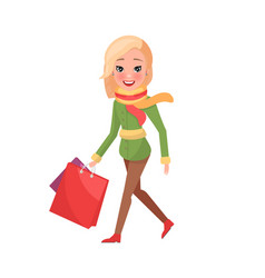 Woman in green winter coat with packages in hands vector